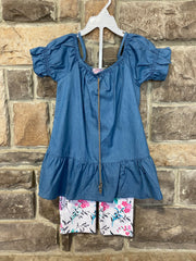 KIDS {Play Date} Light Chambray Top Floral Print Capri Set SALE!!