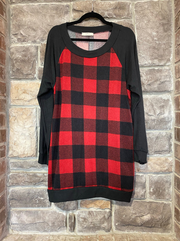 CP-C {Cabin In The Woods} Red Black Buffalo Plaid Knit Tunic