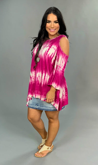 OS-L {Choose Chic} Fuchsia Tie-Dye Cold-Shoulder Tunic