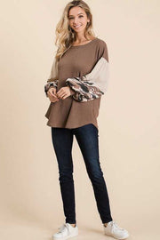 10-20 CP-C {She's In Charge} Mocha With Camo Sleeve Tunic SIZE S M L XL