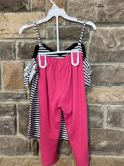 KIDS {Going Sailing} Black Graphic Tee Pink Capri Set