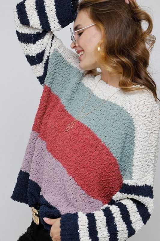 10-20 CP-B {Happier With You} Navy Color Block Sweater SIZE S M L