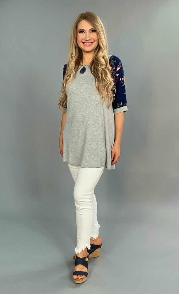 "CP-A ""Party Girls"" Gray With Navy Floral Sleeves"