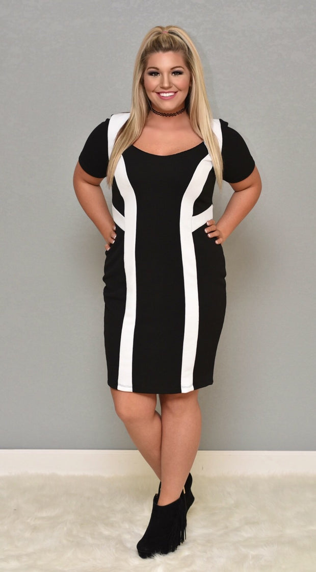 "CP-Y ""Uptown"" Black/White BodyCon Dress"