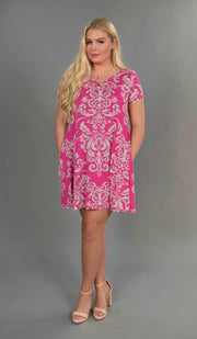 PSS-i {How Forever Feels} Fuchsia Damask Print Pockets Dress