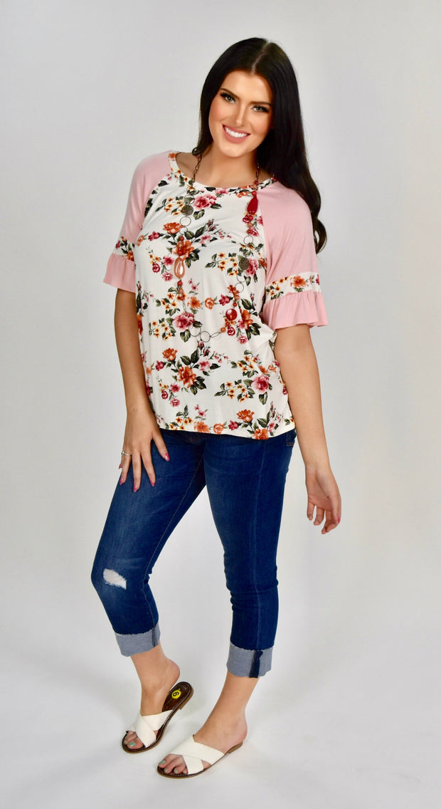 CP-A {Fresh Florals} Ivory Floral Top with Pink Sleeves SALE!!