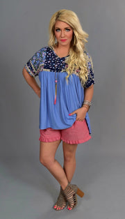 CP-A The Sweetest  Life} Blue Top with Floral Print Contrast