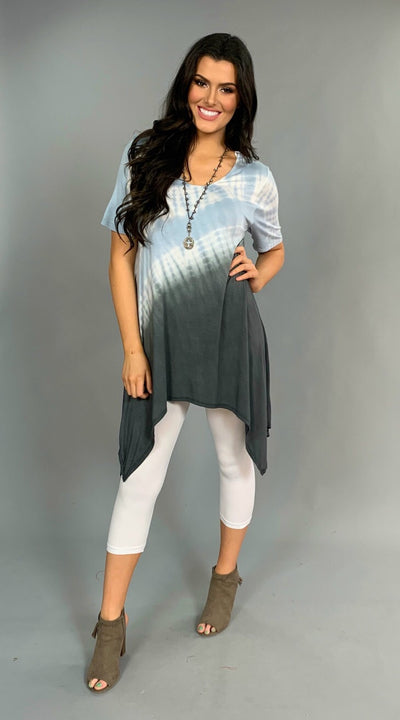 PSS-L Blue/Charcoal Ombre Asymmetrical Tunic