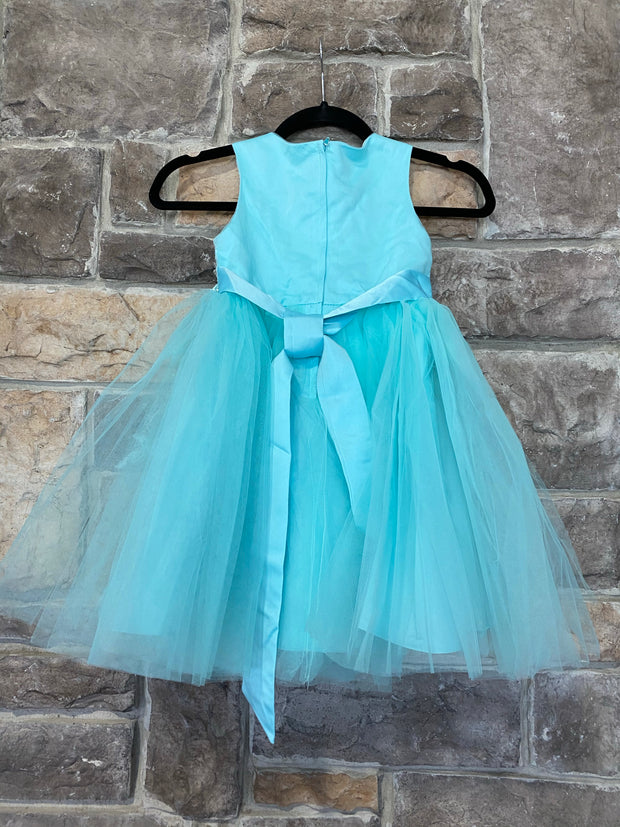 KIDS {Beauty Queen} Aqua Dress W/Bead Detail