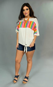 CP-H {Happy Daze} White Multi-Color Top with Front Tie