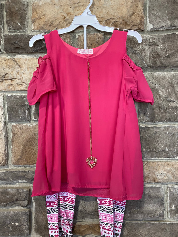 KIDS {Dress Up Days} Pink Top & Necklace W/Print Capr Set