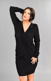 SLS-G {A Night Out} Black V-Neck Overlap Long Sleeve Dress
