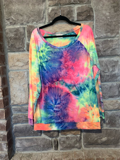 10-02 PLS-A {Feels So Right} Multicolored Tie Dye Buttersoft Top SIZE S M L XL