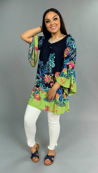 PQ-I {Sweet & Spunky} Navy/Lime Paisley Print Tunic Bell Sleeves