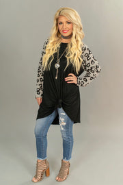 CP-M {Live-Love-Leopard} Black Tunic Leopard Sleeves