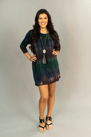 PQ-Z {Exotic Island} Multi-Color Tie-Dye Tunic with Pockets