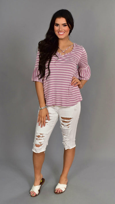 PQ-H {End Of Story} Plum Striped Top with Cage Neck Detail