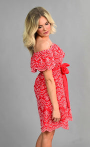 OS-N {Sassier Than Ever} Red Dress with White Eyelet Detail SALE!!
