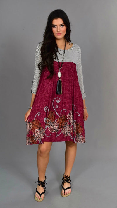 CP-H {Be Authentic} Wine Paisley Contrast Dress