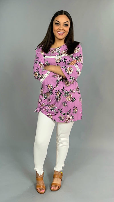 PQ-R {Just Because} Lilac Floral Tunic with Crochet Detail