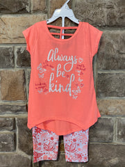 KIDS {Kindness Is Magic} Neon Peach Tee Butterfly Capri Set