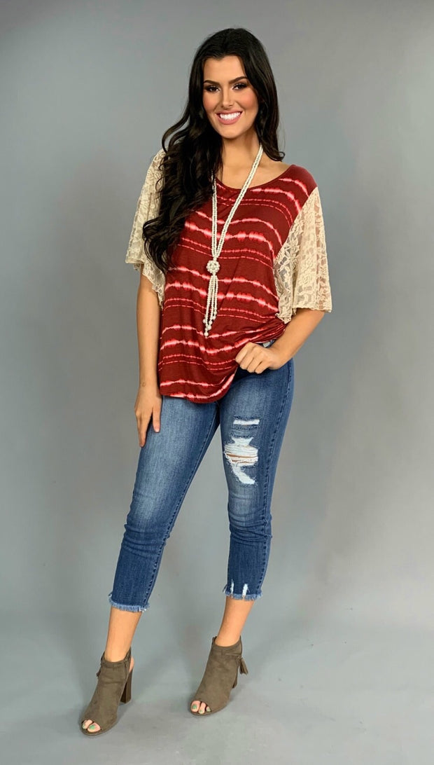 CP-S Burgundy Tie-Dye with Wide Stretchy Lace Sleeves Tunic