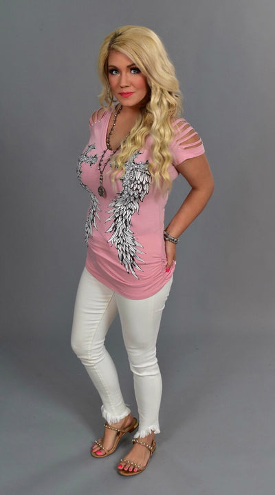 OCS-W {Have Courage} Pink V-Neck Top with Studded Wings