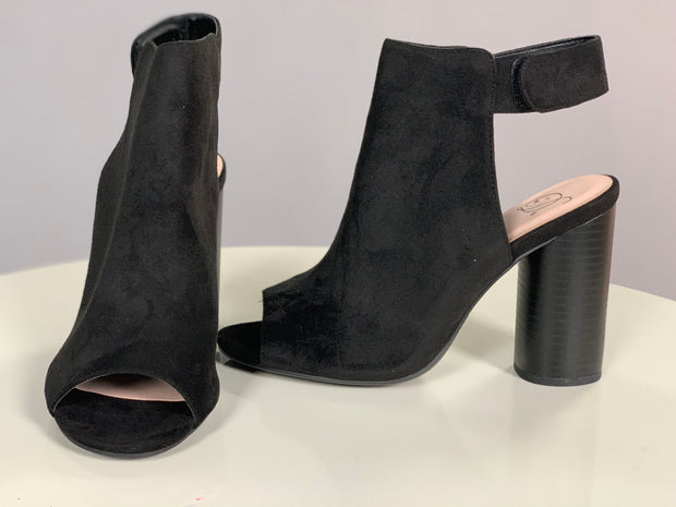 "SHOES {Delicious} Black Booties with 4"" Heel & Velcro Closure"