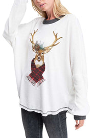 10-09 GT-M {Sleigh Bells} White Waffle Reindeer Top SIZE S M L