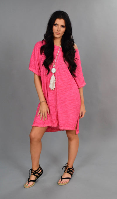 "PSS-L {My Comfy Dress} ""UMGEE"" Pink Dress Fringe Hem"