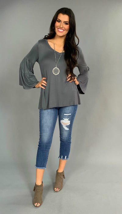SLS-Y CHARCOAL  with Double-Layer Bell Sleeves Tunic