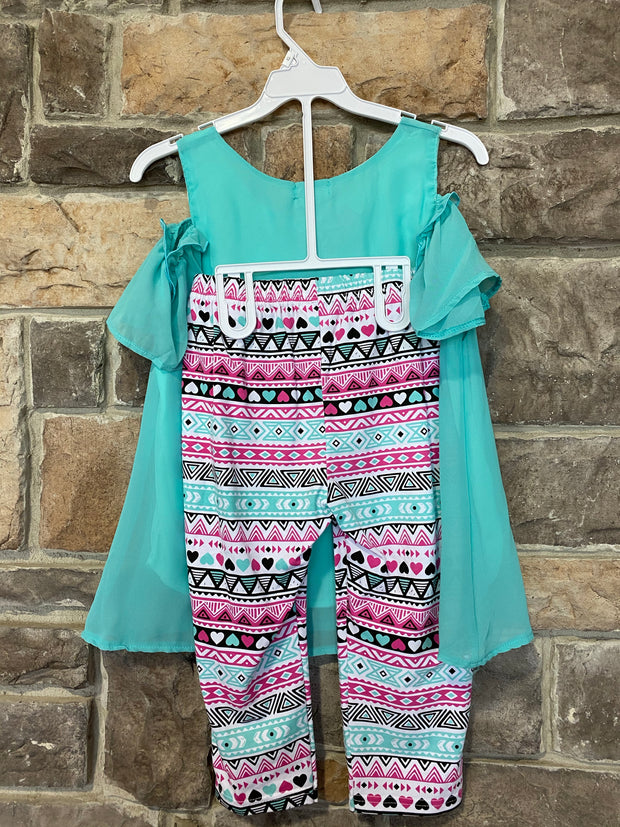KIDS {Little Lady} Aqua Top & Necklace W/Print Capri Set