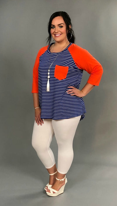 "CP-A ""Summer Fun"" Blue Striped w/ Orange Sleeves & Pocket Tunic"