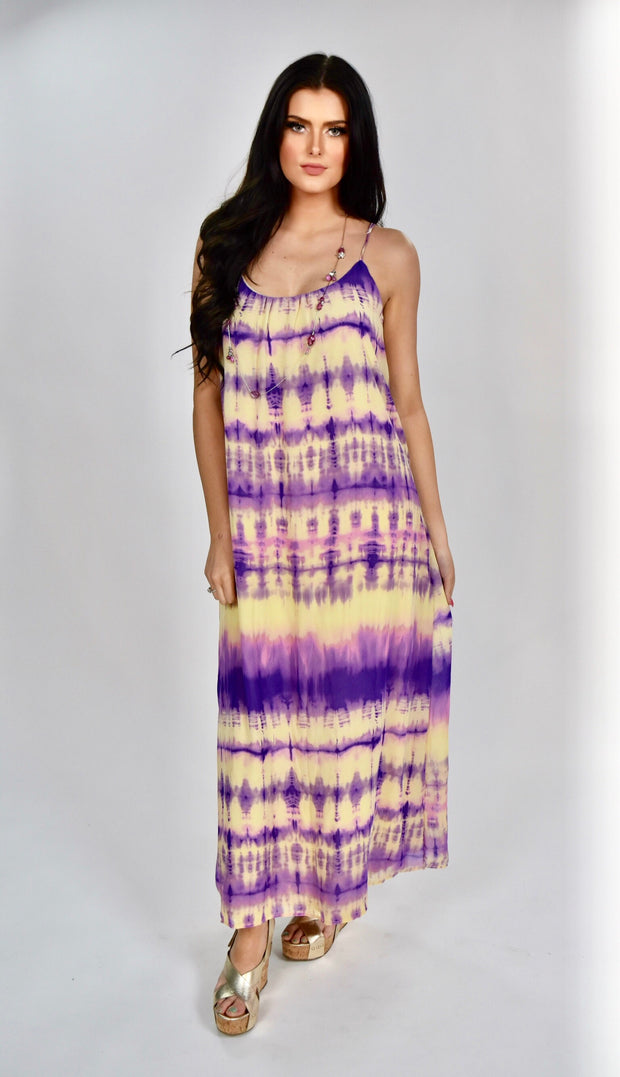 LD-Y {Told You So} Purple/Tan Sleeveless Tie-Dye Dress