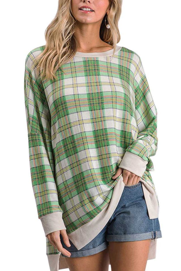 10-13 CP-M {Glory Days} Green White Plaid Top