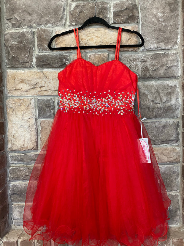 KIDS {Red Lipstick & Heels} Red Sweetheart Dress W/Bead Detail