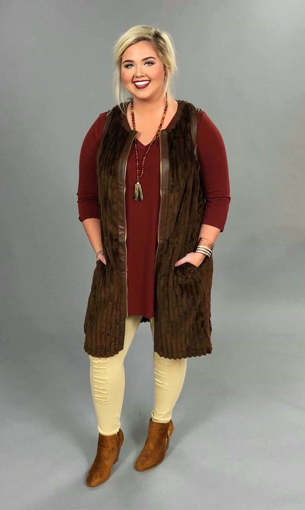 OT-E {A Thing Of Beauty} Brown Velour with Zip Front Vest