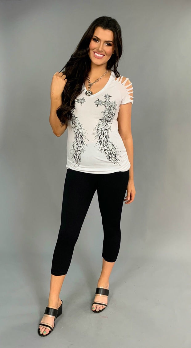 OS-Y {Have Courage} White V-Neck Top with Studded Wings