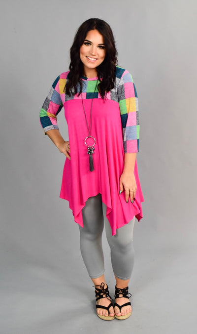 CP-D {Let's Be Friends} Fuchsia/Multi Asymmetrical Tunic