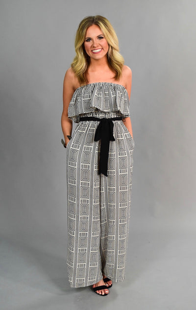 RP-J {I Run To You} Black/Ivory Printed Jumpsuit with Belt