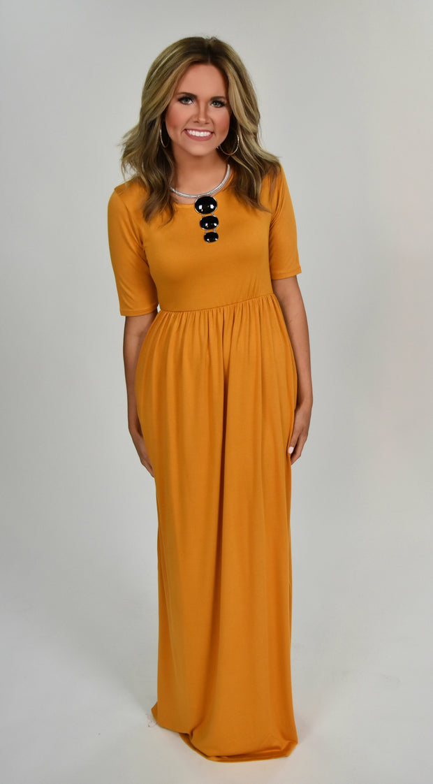 LD-E {Sun Is Shining} Ash Mustard Short Sleeve Maxi Dress