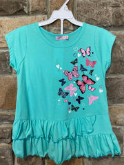 KIDS {Fields Of Spring} Aqua Graphic Tee Black Print Shorts Set SALE!!