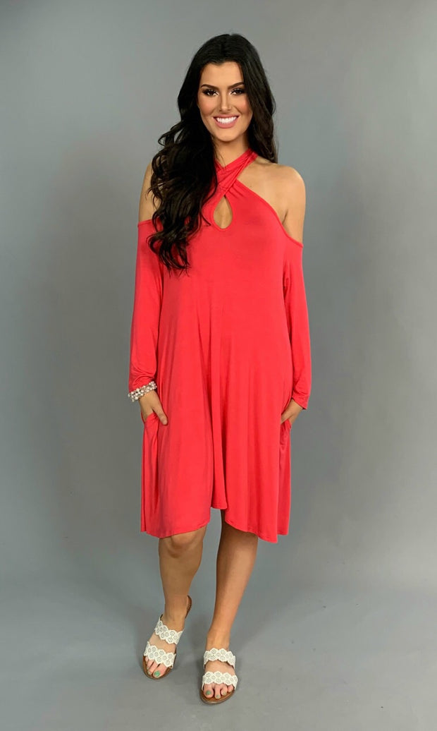 OS-J {My Own Way} Cold-Shoulder Coral Keyhole Dress