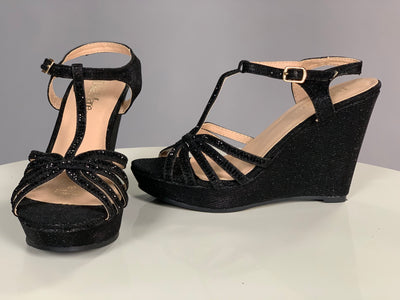 SHOES {Bella Marie} Black Wedges With Sparkles