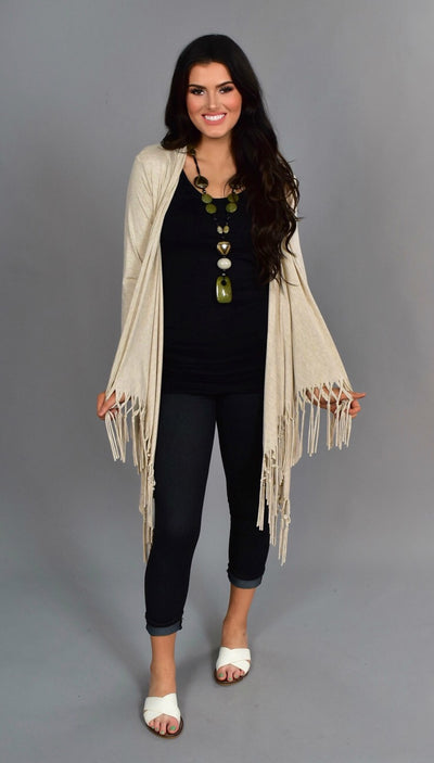 "OT -O ""Only Admiration"" Oatmeal Cardigan with Fringed Bottom"