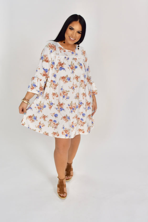 PQ-P {Happy World} Floral Dress with Crochet Lace