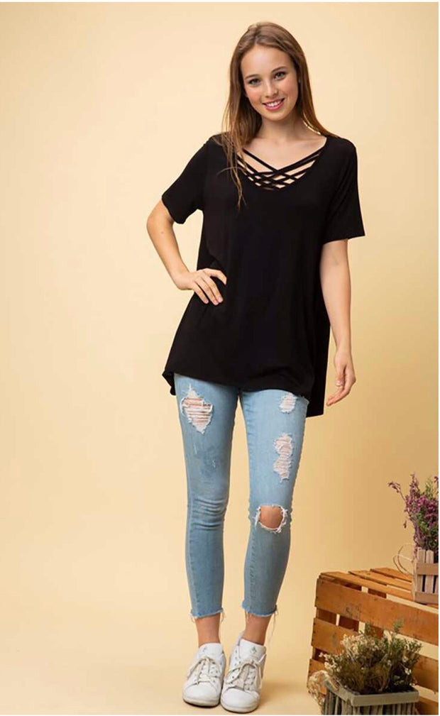 SSS-K {My Side Of Town} Black Cage Neck Tunic Top