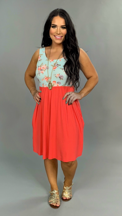 SV-E {Caught Up With Your Smile} Coral Dress Floral Contrast