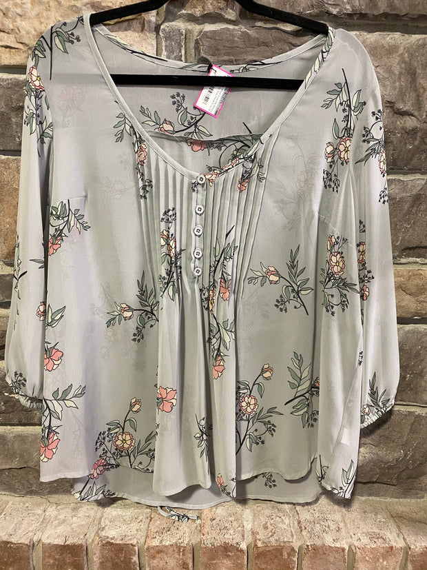 PQ-A {Love Me Always} Lt. Gray Floral Tunic