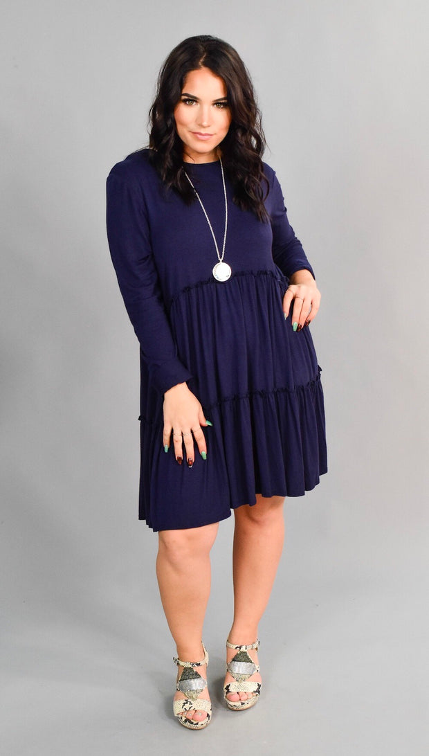 SLS-P {All Aboard} Long Sleeve NAVY 3-Tiered Dress